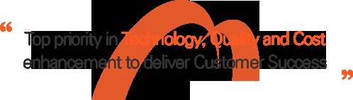 기술 경쟁력, 품질 경쟁력 그리고 원가 경쟁력 제고를 통해 고객의 성공을 만들어가는 M&C가 되겠습니다.